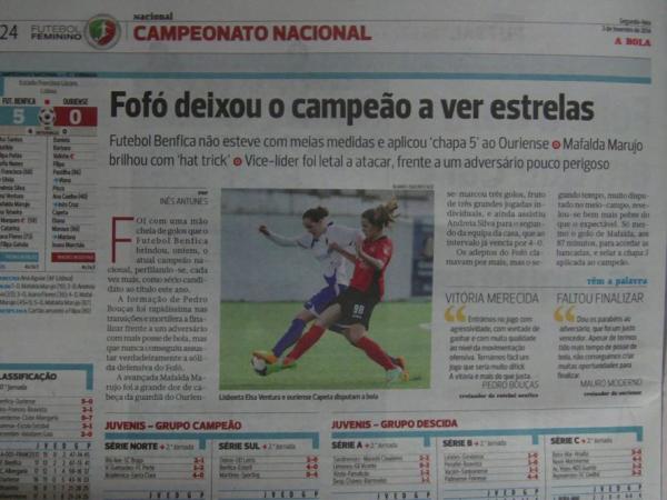 A derrota por 5 a 0 em Benfica foi um verdadeiro ponto de viragem para a equipa de Ourém Fonte: futebolfemininoportugal.com