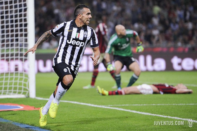 Tévez fez o único golo da partida Fonte: Juventus