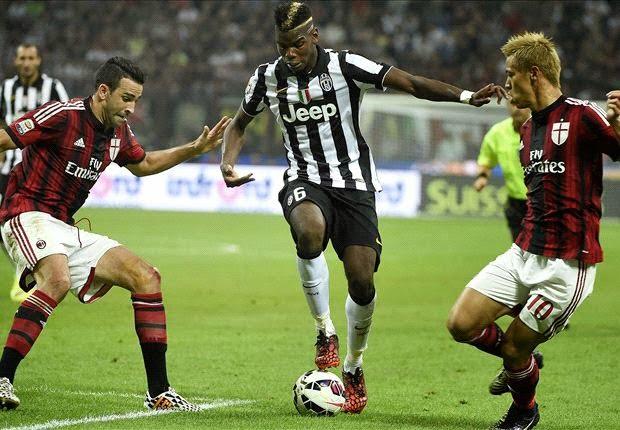 Pogba, aqui em acção frente ao AC Milan, é uma das figuras da Juventus e da Serie A  Fonte: blogdotigraofutebol.blogspot.com