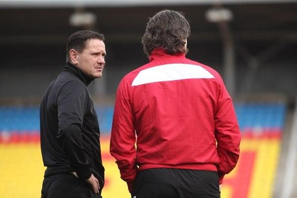 Alenichev e o adjunto Dmitri Ananko: os homens responsáveis pelo crescimento do Arsenal Tula Fonte: Página do VK do Arsenal  Tula