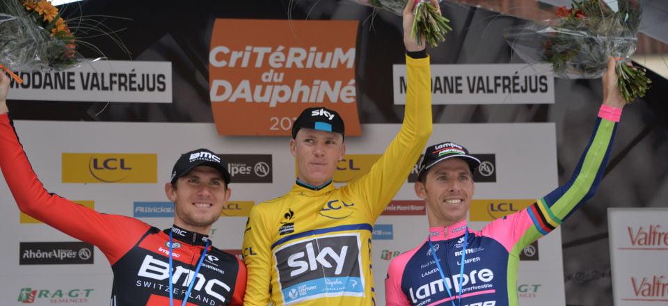 O pódio final do Critérium du Dauphiné Fonte: Letour.fr