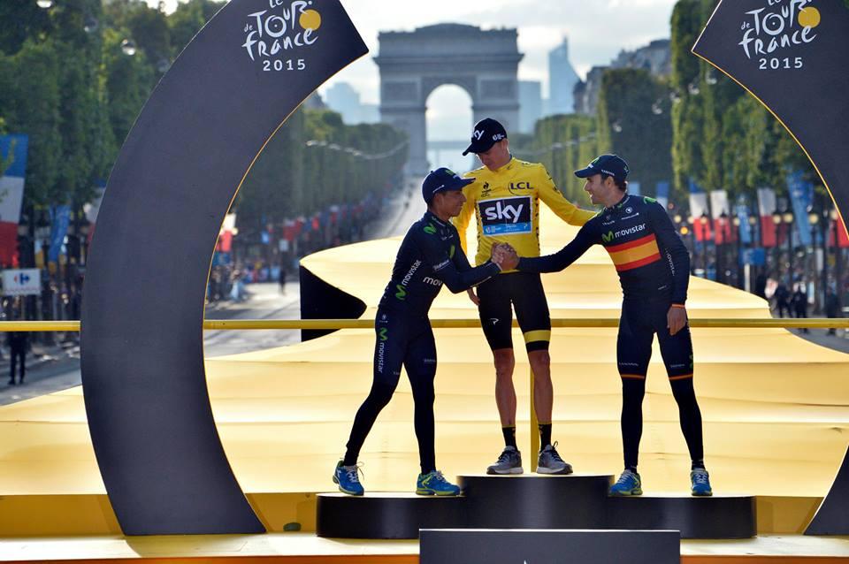 O pódio do Tour de France irá voltar a animar uma Grande Volta este ano  Fonte: Facebook Le Tour de France