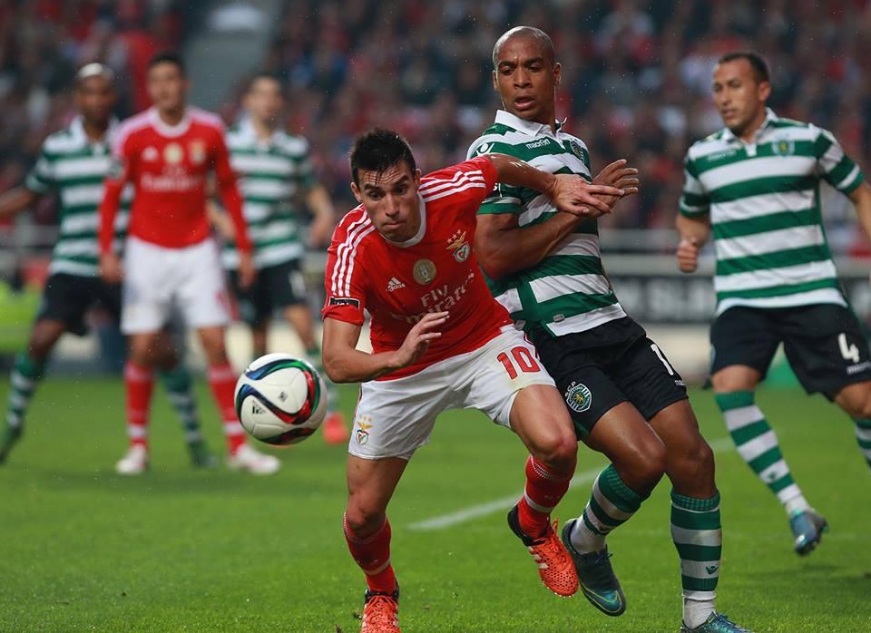 A desinspiração de Gaitán contrastou com a classe patenteada por João Mário. Fonte: Facebook do Benfica