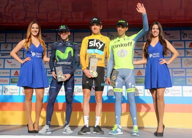 O pódio desta Volta ao Algarve: Thomas, Izaguirre e Contador  Fonte: Volta ao Algarve