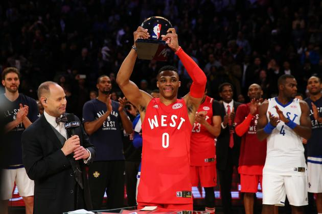 Russell Westbrook venceu, pelo segundo ano consecutivo, o MVP do All-Star Game Fonte: bleacherreport