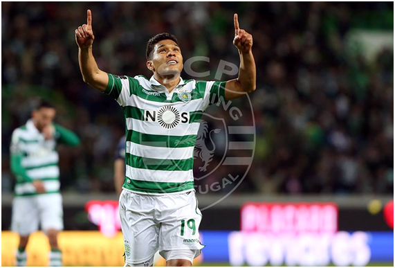 Teo Gutiérrez voltou a marcar, tendo inaugurado o marcador com um golpe de cabeça Fonte: Sporting Clube de Portugal